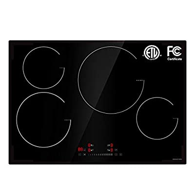 "30"" Induction Cooktop 4 Burners ETL&FCC certified,Electric Cooktop 4 Boosters High Power 8100W &240V, Electric Stove with Touch Control Child lock&Timer"