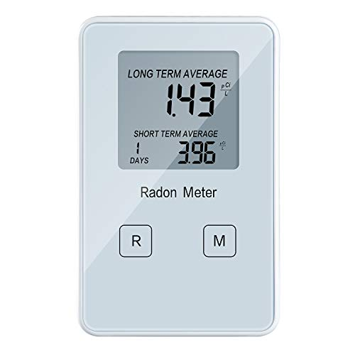 Home Radon Detector, Portable Radon Meter, Long and Short Term Monitor, Rechargeable Battery-Powered, Radon Test Kit