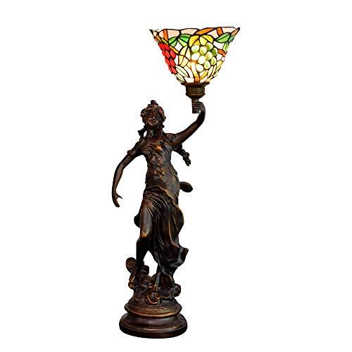 Lámpara Tiffany 8 pulgadas de estilo Tiffany creativa manchada hermosa lámpara de vidrio de cristal de la barra de la lámpara de mesa americana dormitorio sala de estar comedor rural Escritorio antigu