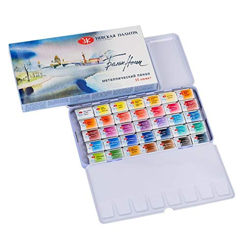 White Night Artist - Juego de acuarela, 35 colores en una caja de metal