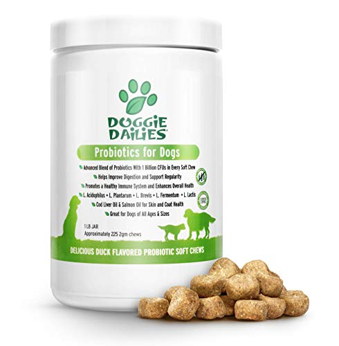 Doggie Dailies Probiotics for Dogs, 225 Soft Chews, Advanced Dog Probiotics with Prebiotics, Promotes Digestive Health, Supports Immune System and Overall Health (Duck)
