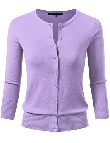 Women's Button Down 3/4 Sleeve Crew Neck Knit Cardigan Sweater S Lilac