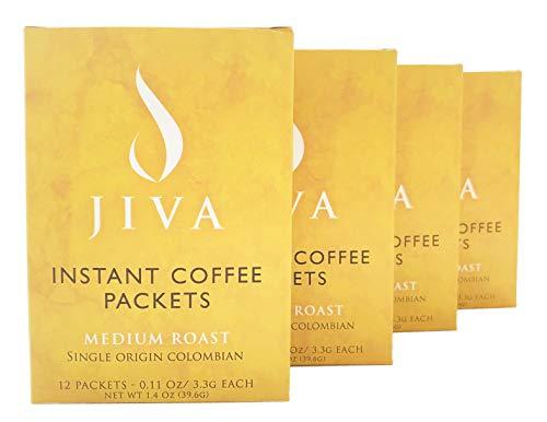 Jiva Instant Coffee Packets - Single-Use, Freeze-Dried,...