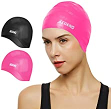 Aegend Unisex Swim Caps Cover Ears (2 Pack), Durable & Flexible Silicone Swimming Caps for Long Hair & Short Hair?Easy to Put On and Off, Black Pink