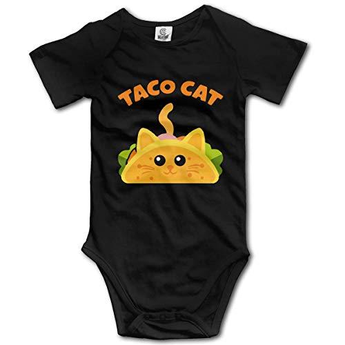 Taco Cat Palindrome Humor Cute Baby Onesie Bodysuit Newborn Rompers Short Sleeve Black
