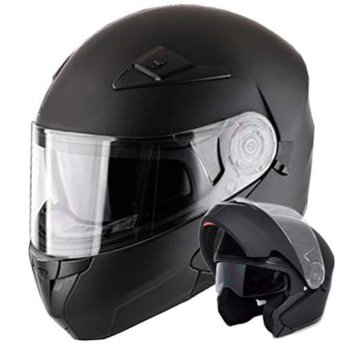 Klapphelm Integralhelm Helm Motorradhelm RALLOX 910 schwarz/matt mit Sonnenblende (XS, S, M, L, XL) Größe M