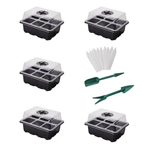 YSBER 5-Pack Seed Starter Tray Kit 30 Cells Humidity Adjustable Plant Starting Kit with Dome and Base Greenhouse Grow Trays Mini Propagator for Seeds Growing (Black/5pack, 6 Cell)
