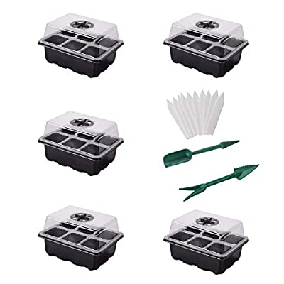 YSBER 5-Pack Seed Starter Tray Kit 30 Cells Hum...
