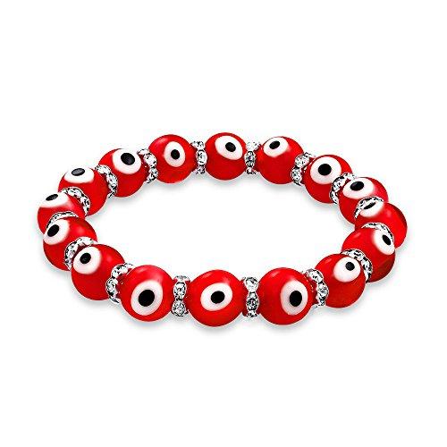 Bracciale Stretch per Perline in Vetro Rosso Rosso Turco Perline per Le Donne Adolescenti Rondelle Crystal Distanziatori per la Protezione e buona Fortuna