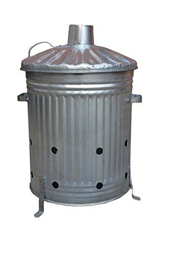 Klein/Mittel/Groß Garten Verbrennungstonne verzinkt ideal zum Verbrennen Holz/Blätter/Papier, metall, silber, 60 Litre
