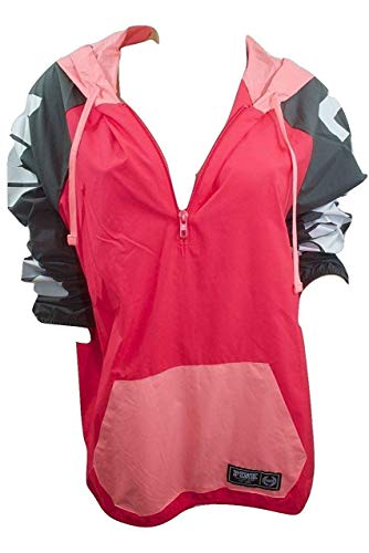 Victoria's Secret Pink Colorblock Anorak Windbreaker Jacket Half Zip Neon Coral XS/Small