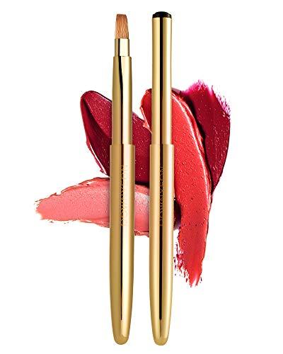 Rownyeon Travel Retractable Lip Brush Applicators Flat for Lipstick Gloss Creams Portable with Cap,...