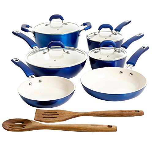 Kenmore Arlington Nonstick Ceramic Coated Forged Aluminum Induction Cookware with Bakelite Handles, 12-Piece Set, Metallic Blue
