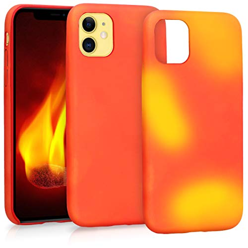 kwmobile Thermal Sensor Case Compatible with Apple iPhone 11 - Color Changing Heat Sensitive Cover Red/Yellow