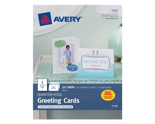 Avery Quarter-Fold Greeting Cards for Inkjet Printers, 4.25 x 5.5 inches, White, Pack of 20 (3266)