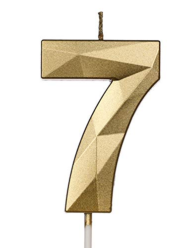PartyWoo Birthday Candles, Number Candles, Number 7 Candle, Gold Candles, Birthday Candles for Cake, Happy Birthday Candle, Cake Candles Cake Topper, Party Decorations, Party Supplies (Number 7)
