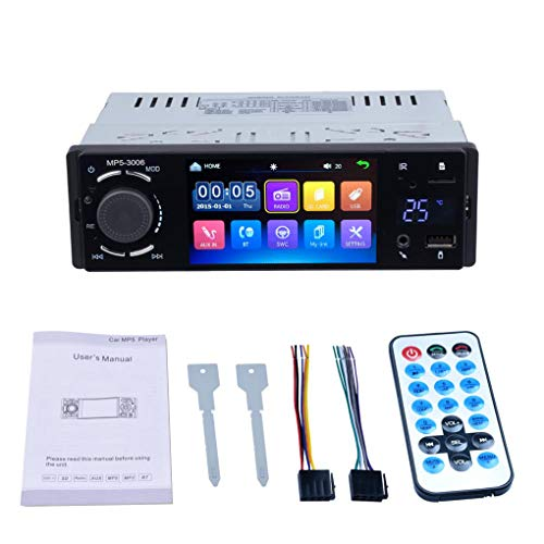 4.1 Inch Single DIN HD Capacitief touchscreen Autoradio Radio MP5-speler + achteruitrijcamera + temperatuurweergave