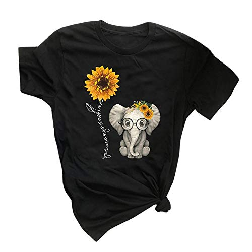 Qianxitang Women's Graphic Tees Cute Sunflower Elephant Print Summer Casual Short Sleeve Round Neck Tops T Shirt (Black,X-Large)