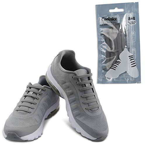 Coolnice No Tie Shoelaces for Adult Waterproof Silicone Elastic Shoe Laces-Gray