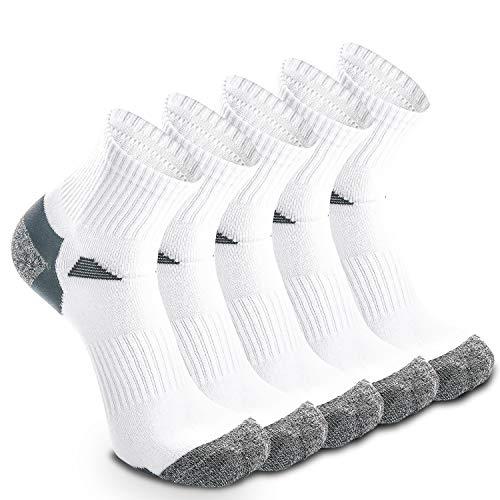 5 Paar Laufsocken Sportsocken Funktionssocken für Herren Damen Münner Dünn Kompression Unterstützend und Klimatisiert Atmungsaktiv (EU 39-42, Weiß - 5 Paare)