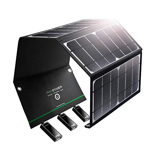Solar Charger RAVPower 24W Solar Panel with Triple USB Ports Waterproof Foldable for Smartphones Tablets and Camping Travel (Renewed)