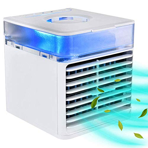 Queta Mini Air Cooler Enfriador de Aire Mini Aire Acondicionado Portátil 4 en 1 Enfriador de Aire humidificador Ventilador y Purificador con 3 Velocidades Ajustables Hogar Oficina