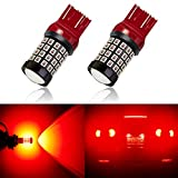 ANTLINE Newest 7443 LED Bulb Red (2 Pack), 9-30V Super Bright 1600 Lumens 7440 7441 T20 992 W21W 52-SMD LED Lamps with Projector for Replacement, Work as Turn Signal Blinker Side Marker Lights