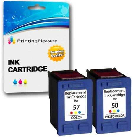 Printing Pleasure 2 Tintenpatronen kompatibel zu HP 57 58 für HP Photosmart 7350 7600 7150 7550 PSC 2510 2110 2210 Deskjet 5150 5550 450cbi 450ci Officejet 6110 6150 - Color/Foto Color, hohe Kapazität