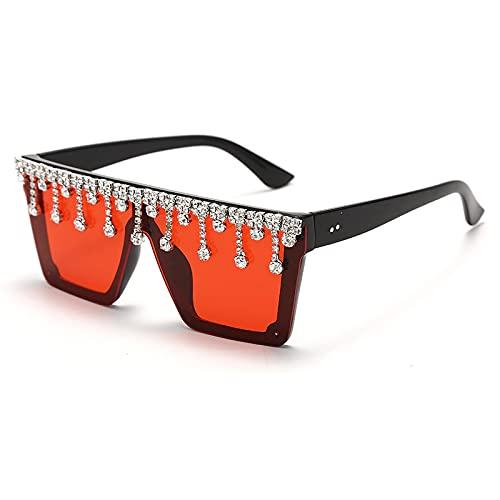 ShSnnwrl Único Gafas de Sol Sunglasses Gafas De Sol De Diamantes De Borla A La Moda para Mujer, Espejos De Lujo, Gafas De Sol Vin