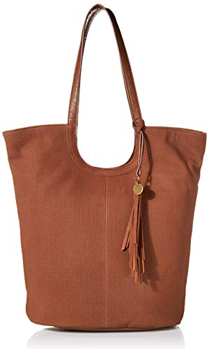 Lucky Ebon Perforated Tote, BRANDY