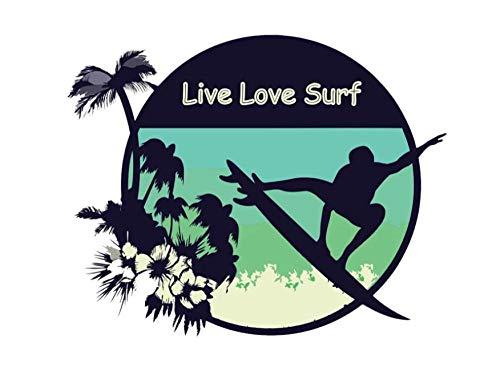 MDGCYDR Pegatinas Coche Personalizadas 13,9 Cm * 11 Cm Personalidad Live Love Surf Sticker Divertido Deporte Calcomanía Accesorios