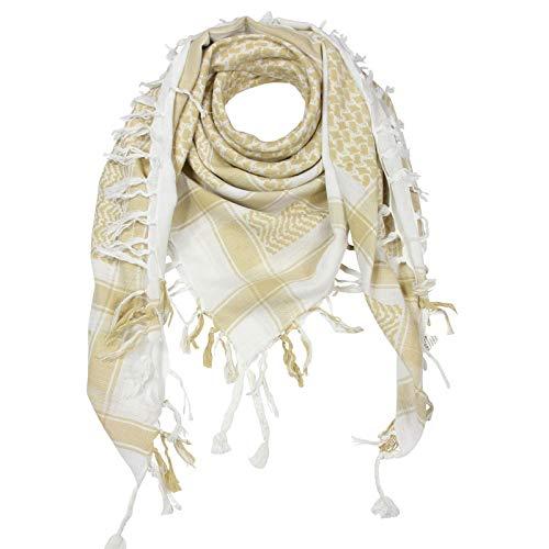 Superfreak Palituch - weiß - braun-beige - 100x100 cm - Pali Palästinenser Arafat Tuch - 100% Baumwolle
