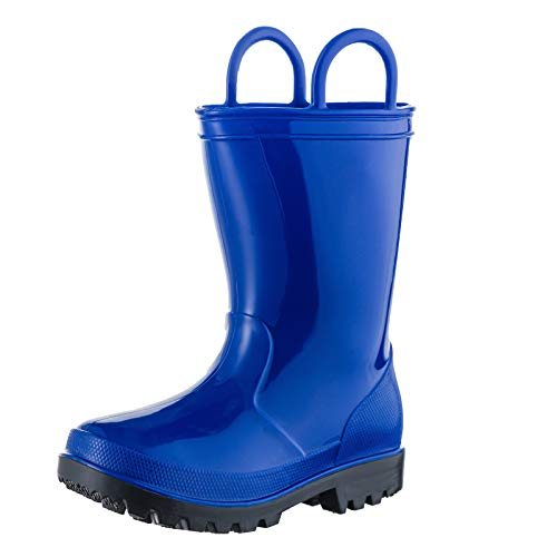 ALLENSKY Kids Rain Boots with Easy-on Handles for Little Kids & Toddler Boys and Girls Waterproof Rain Boots(Blue)