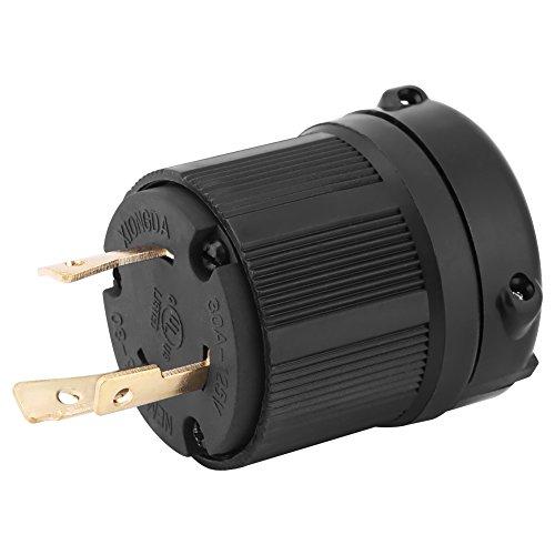 Enchufe eléctrico, NEMA L5-30 30A 125V Adaptador de conector de enchufe eléctrico de 3 hilos US Twist Lock Europa a EE. UU. Ideal para conectar a un generador con una toma de corriente de 125V