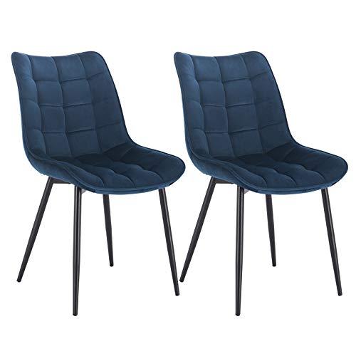 WOLTU® Esszimmerstühle BH142bl-2 2er Set Küchenstuhl Polsterstuhl Wohnzimmerstuhl Sessel mit Rückenlehne, Sitzfläche aus Samt, Metallbeine, Blau