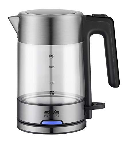 Silva-Homeline KL-G 2002 Glas-Wasserkocher, 2.200 W, 1 l, Betriebsbeleuchtung, 360°C central-cordless-system, Inox
