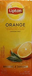 Lipton - Caffeine Free Orange Herbal Tea, 28 Tea Bags, 2.1 ounce Box (Pack of 3)