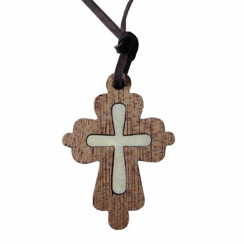 Kaltner Präsente Geschenkidee - Halskette für Damen und Herren aus Leder mit Kreuz Anhänger aus Holz