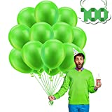 Globos de Látex, 100 piezas 12 pulgadas Globos Cumpleaños Globos Decoracione Globos de Fiesta con 2 cintas, para Bodas Fiestas de Cumpleaños y Decoración (verde)