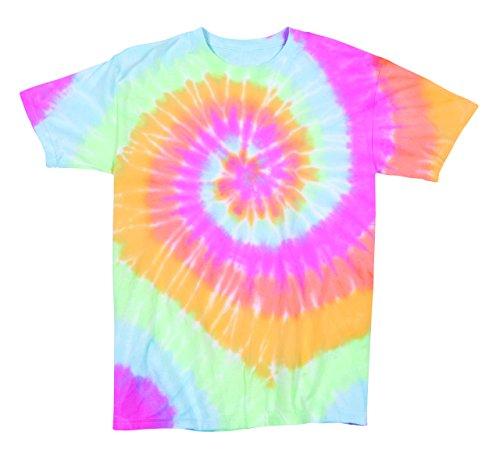 Pale Pastel Ariel Rainbow Swirly Multi-Spiral Unisex Adult Tie Dye T-Shirt Tee
