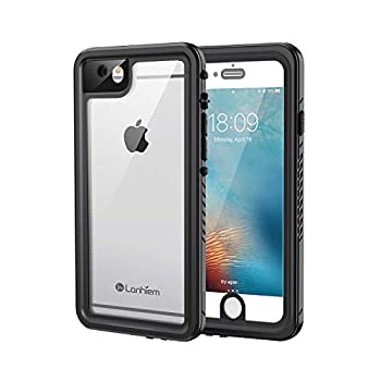Lanhiem iPhone 6 / 6s Case IP68 Waterproof Dustproof Shockproof Case with Built-in Screen Protector Full Body Sealed Underwater Protective Clear Cover for iPhone 6 / 6s  Black