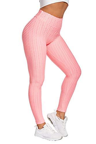 Piannao - Leggings a vita alta da donna, a forma di nido d'ape Colore: rosa. XL
