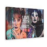 Poster su tela con scritta 'Love, Death & Robots', stagione 17, decorazione da parete per soggiorno, camera da letto, 60 x 90 cm, cornice1