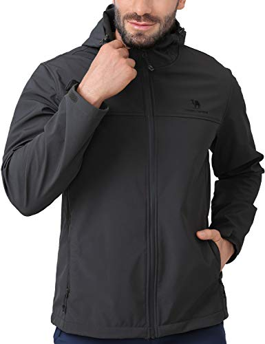 CAMEL CROWN Softshell Jacket Men Hooded Fleece Lined Outdoor Jackets Windproof Water Resistant for Hiking Casual Work Grey XL