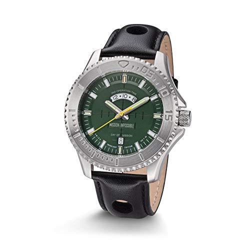 Kronsegler Mission Impossible Tactical Watch H3 Reloj Auto Luminoso Acero Verde con Correa De Cuero Negro