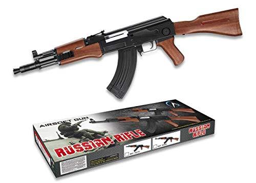Replica AK47 Kalashnikov Counter Strike 38319 Arma Larga Airsoft Aire Suave 6 mm Potencia 0,50 Julios Airsoft Paintball Caza Supervivencia bushcraft Camping Outdoor 38319 + Portabotellas de regalo