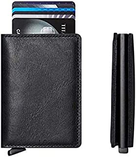Other Genuine Leather Aluminium Slim Secure Id Wallet With Rfid For Unisex. 8 Cards + Cash. Flip Eject Option For Quick Choose Cards-By Paamsons
