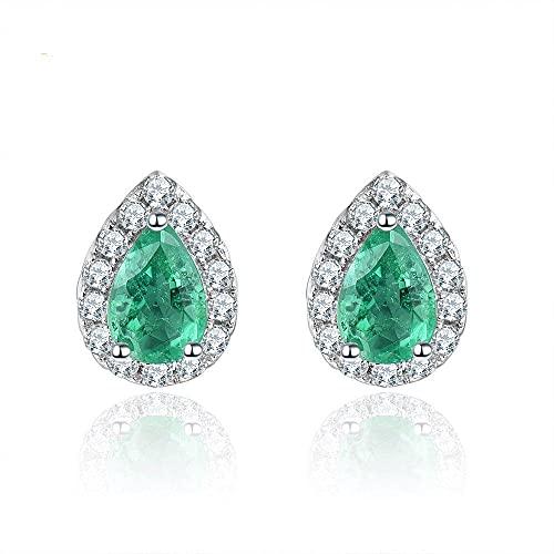 OTXA Orecchini Emerald Stud 925 Argento 0.8 Carati Gemstone Classic Women's Day Gift Jewelry