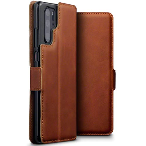 TERRAPIN, Kompatibel mit Huawei P30 Pro Hülle, ECHT Spaltleder Börsen Tasche - Slim Fit - Betrachtungsstand - Kartenschlitze - Cognac