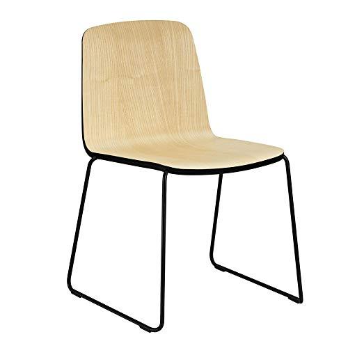 Normann Copenhagen Just Chair Stuhl, esche Natur Kante schwarz Gestell schwarz